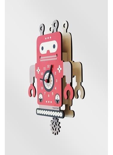 Peoples Clock Çarklı Robot  Sallanan Sarkaçlı Çocuk Odası Duvar Saati Renkli